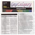 From GayCalgary Magazine June 2004, Issue 8