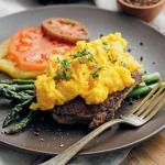 Breakfast Steak and Eggs on Asparagus Spears